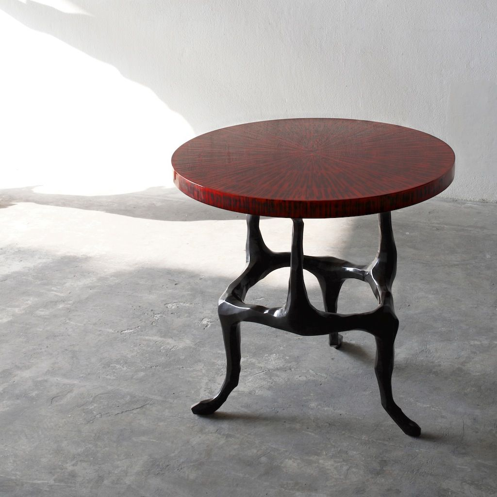 Alexander Lamont Amaranth Side Table Has A Straw Marquetry And Lacquer  Surface With A Bronze Base