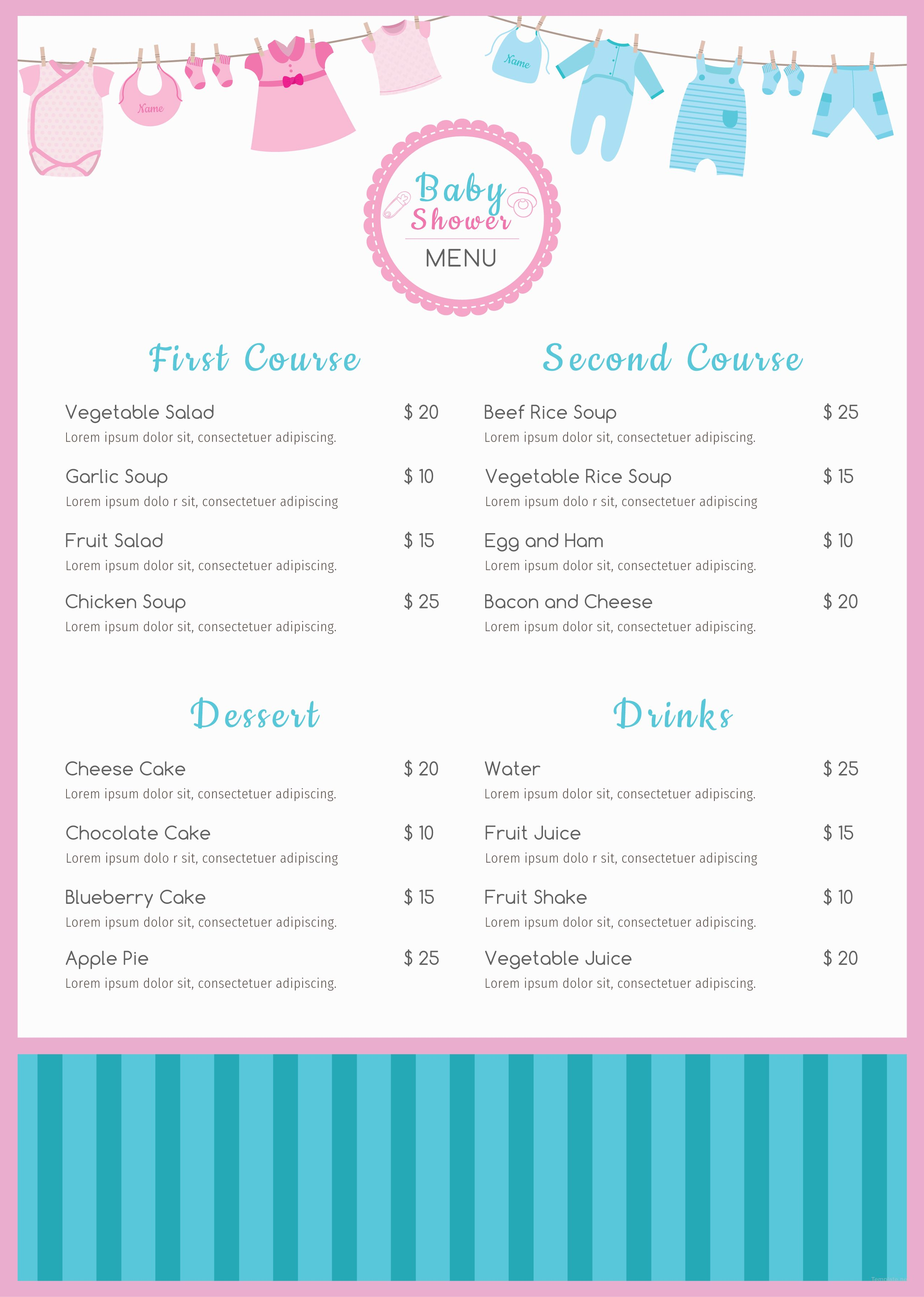 Baby Shower Menu Template Free Psd Illustrator Indesign Word Apple Pages Publisher Template Net Baby Shower Menu Free Baby Shower Menu Template