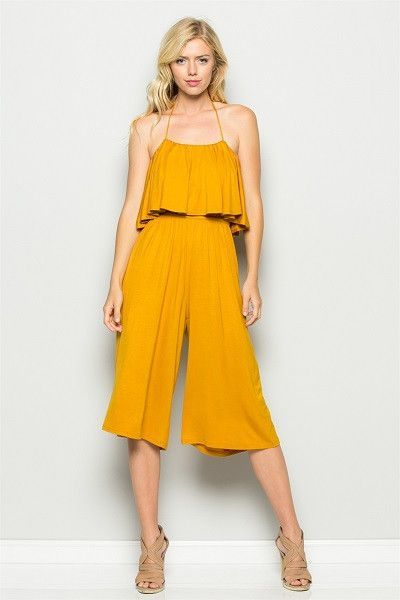 5dfbb1422cf Mustard yellow jumpsuit with tube halter top