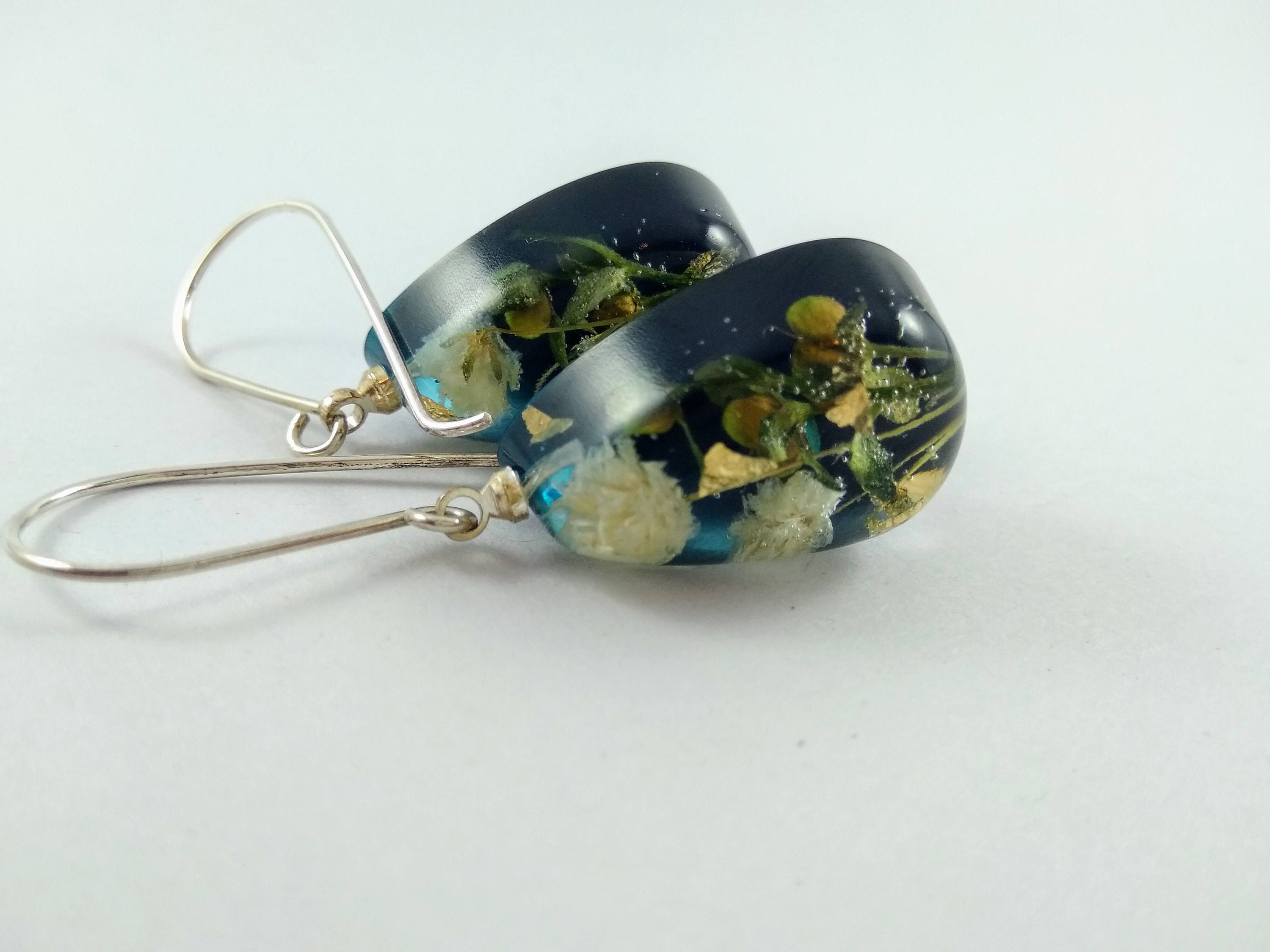 Real Flower Earrings Something Blue Earrings Terrarium Earrings  # Terrarium Dangle