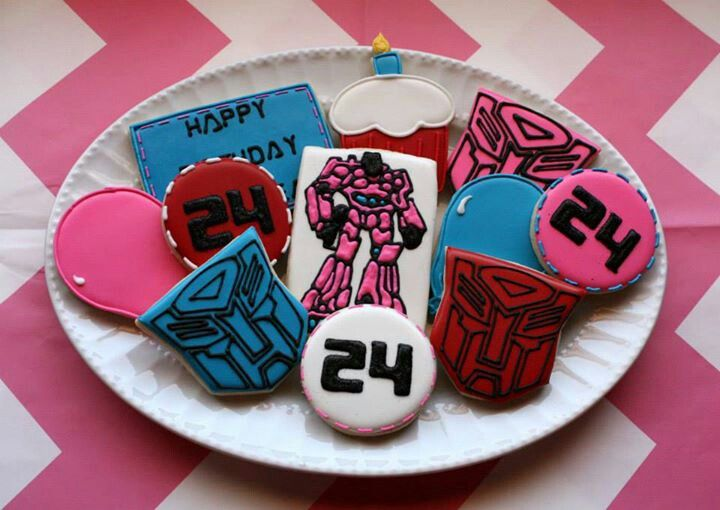 Girly Transformer Cookies~                 No source, pink, blue