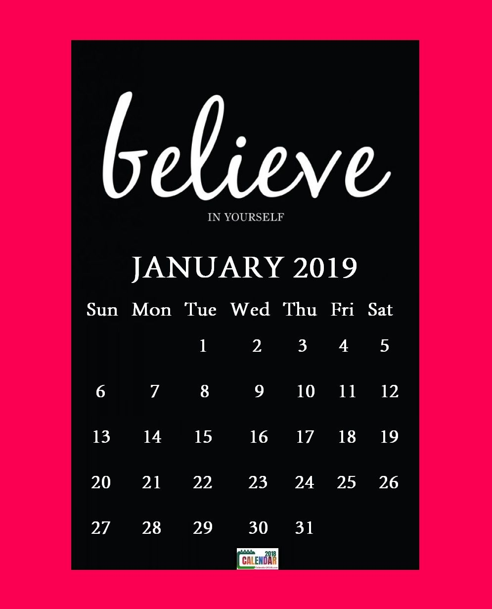 Inspiring January 2019 Calendar Motivational January 2019 Calendar With Quotes | MaxCalendars