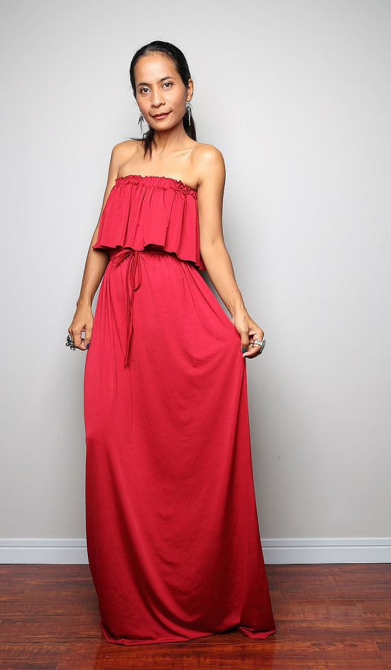 0a476549630a Red Maxi Dress Funky Strapless Red Dress Elegant by Nuichan
