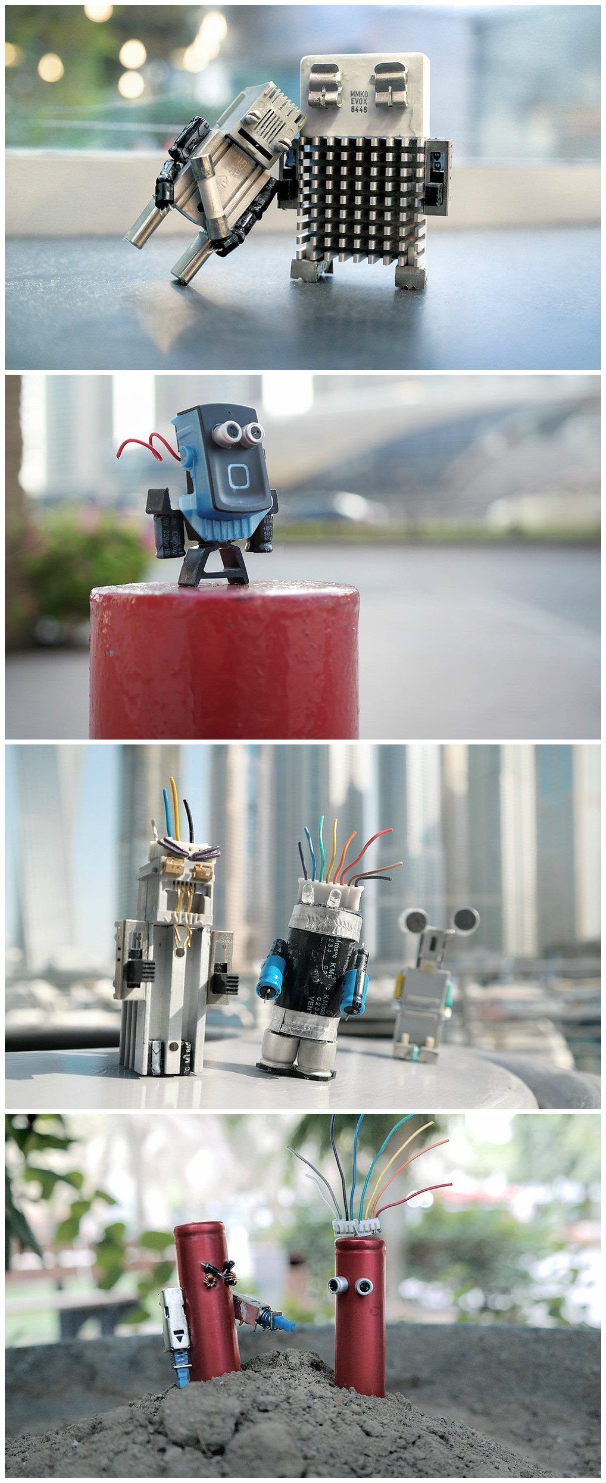 The concept here is to keep electronic waste out of the environment by making these up-cycled characters using static and rigid shapes of digital components to give a second life to objects that can be transformed into living characters to tell a story even in one shot.
