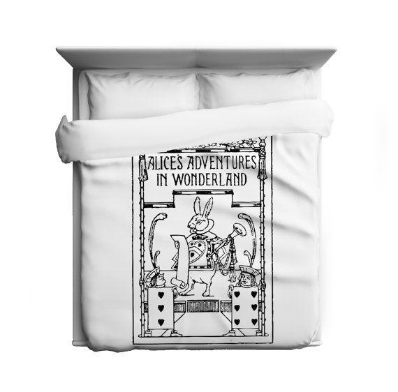 white rabbit, alice in wonderland duvet cover - made in usa   home