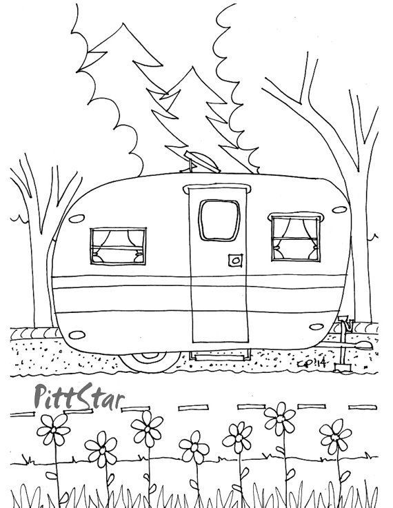 Instant Download Vintage Travel Trailer Printable Coloring Page Camping Coloring Pages Printable Coloring Pages Coloring Books