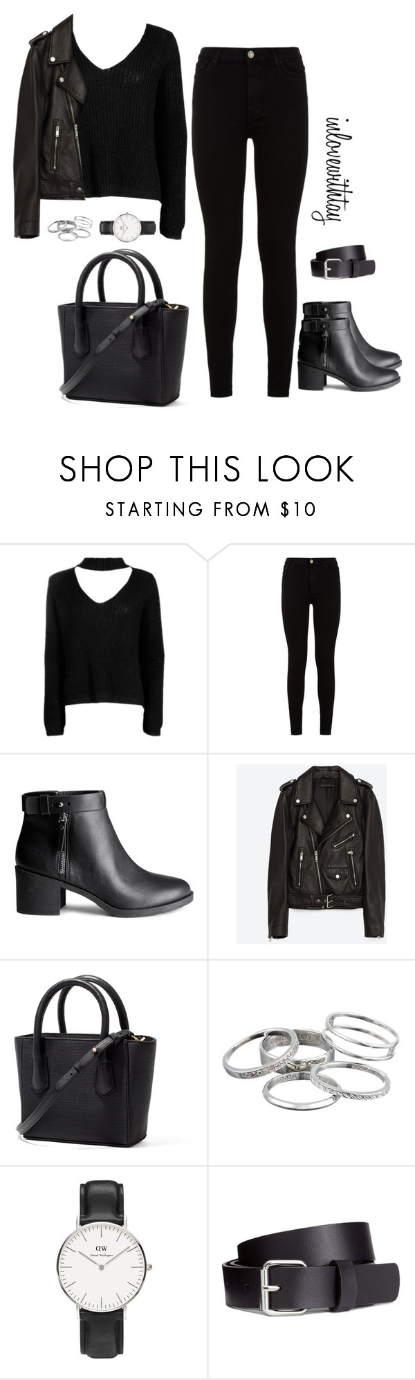 2❤ by inlovewithtay on Polyvore featuring mode, Boohoo, Jakke, 7 For All Mankind, H&M, Daniel Wellington and Kendra Scott