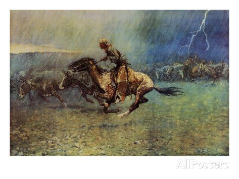 The Stampede Posters by Frederic Sackrider Remington at AllPosters.com