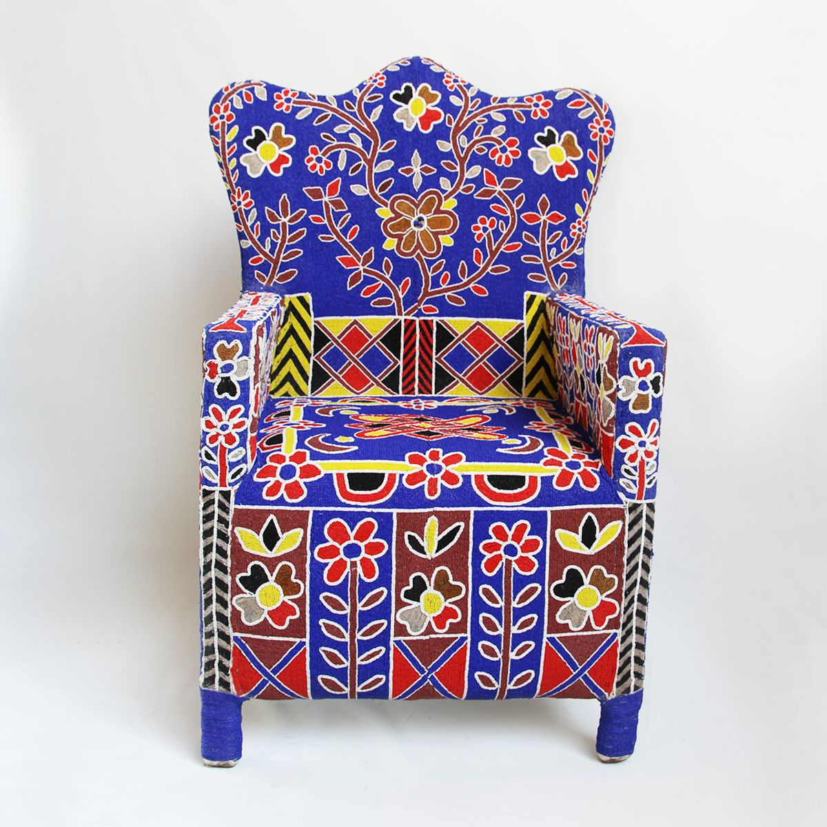 West African hand beaded tribal arm chair from Yoruba