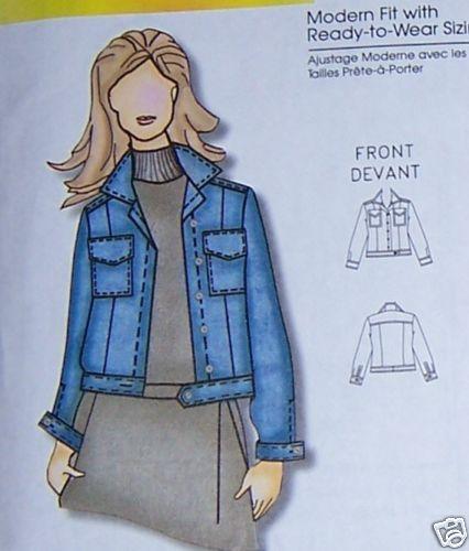 Plus Sz Classic Jean Jacket Pattern 1x 2x 3x 4x 5x 6x Sewing