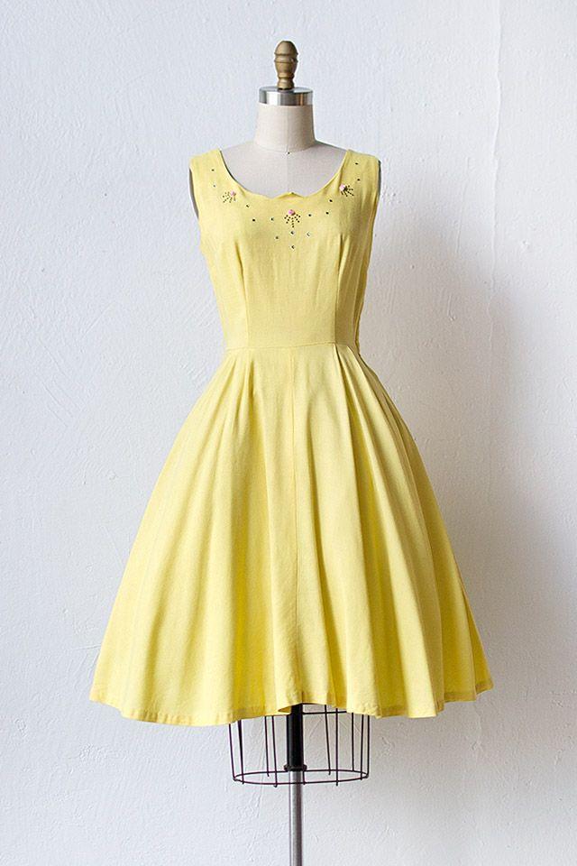 Vintage 1950s Yellow Dress With Rhinestones Vibrant Sun Dress 148 00 Adored Vintage Vintage C Yellow Vintage Dress Vintage Dresses 50 Vintage Dresses