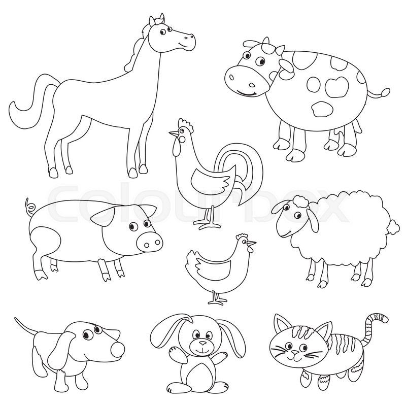 Cute cartoon farm animals and birds for coloring book. Outline ...