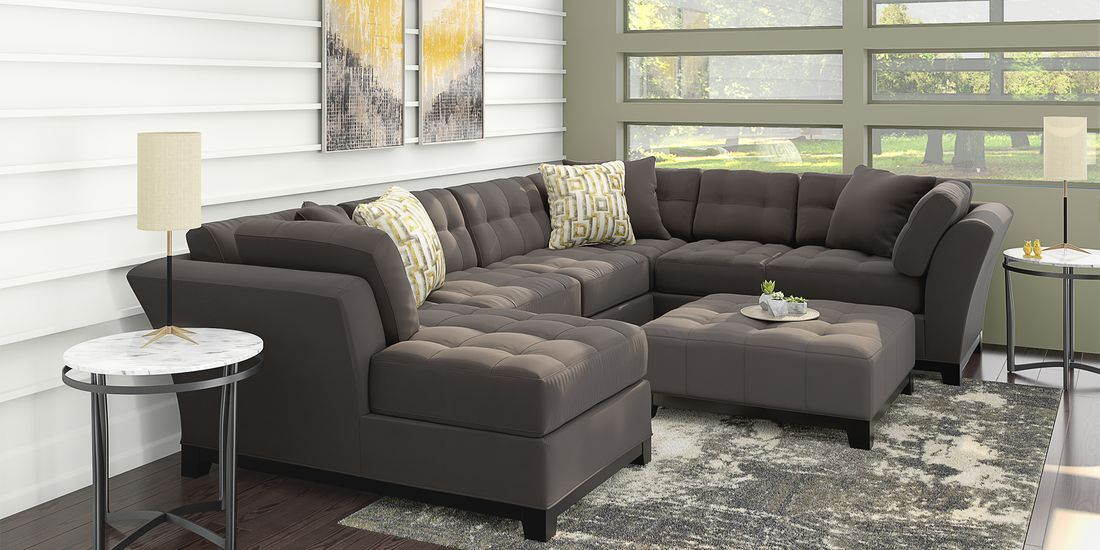 Cindy Crawford Home Metropolis Slate 3 Pc Sectional Living Room