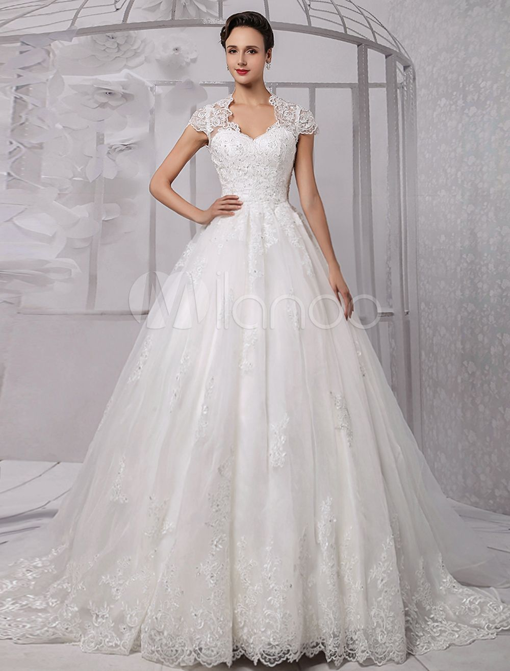 Cap sleeves ball gown back keyhole beaded lace wedding dress
