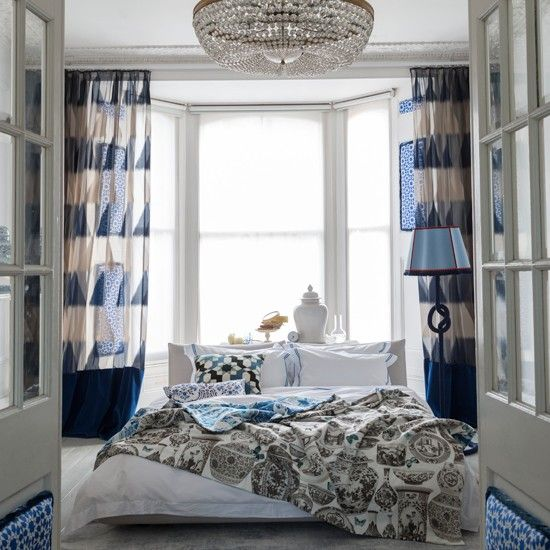 Blue and white Edwardian-style bedroom | Bedroom decorating ideas ...