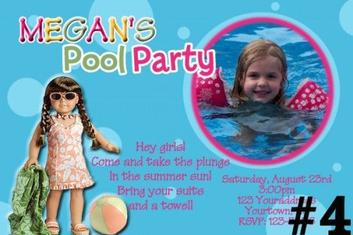 American Girl Doll Personalized Birthday Party Invitation Pool – American Girl Doll Party Invitations