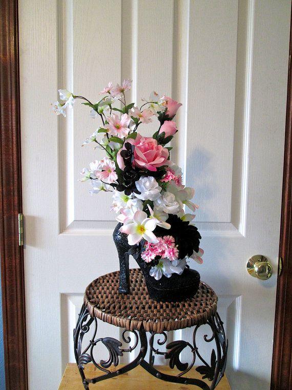 Silk flower arrangement with pink white and black assorted flowers silk flower arrangement with pink white and black assorted flowers in a high heel shoe home decor silk floral arrangement floral pinterest silk mightylinksfo
