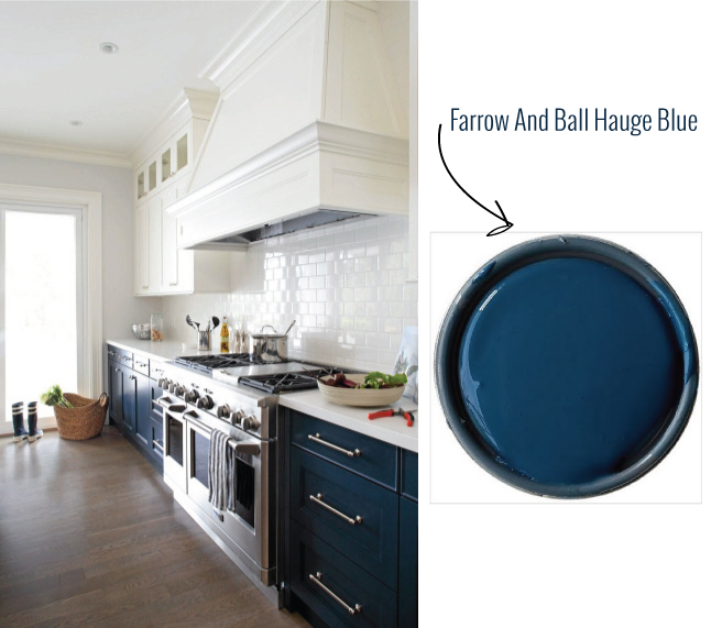 Obsessed With The Idea Of Navy Lower And White Upper Cabinets Paint Color  Farrow U0026 Ball Hauge Blue Kitchen Range Hood