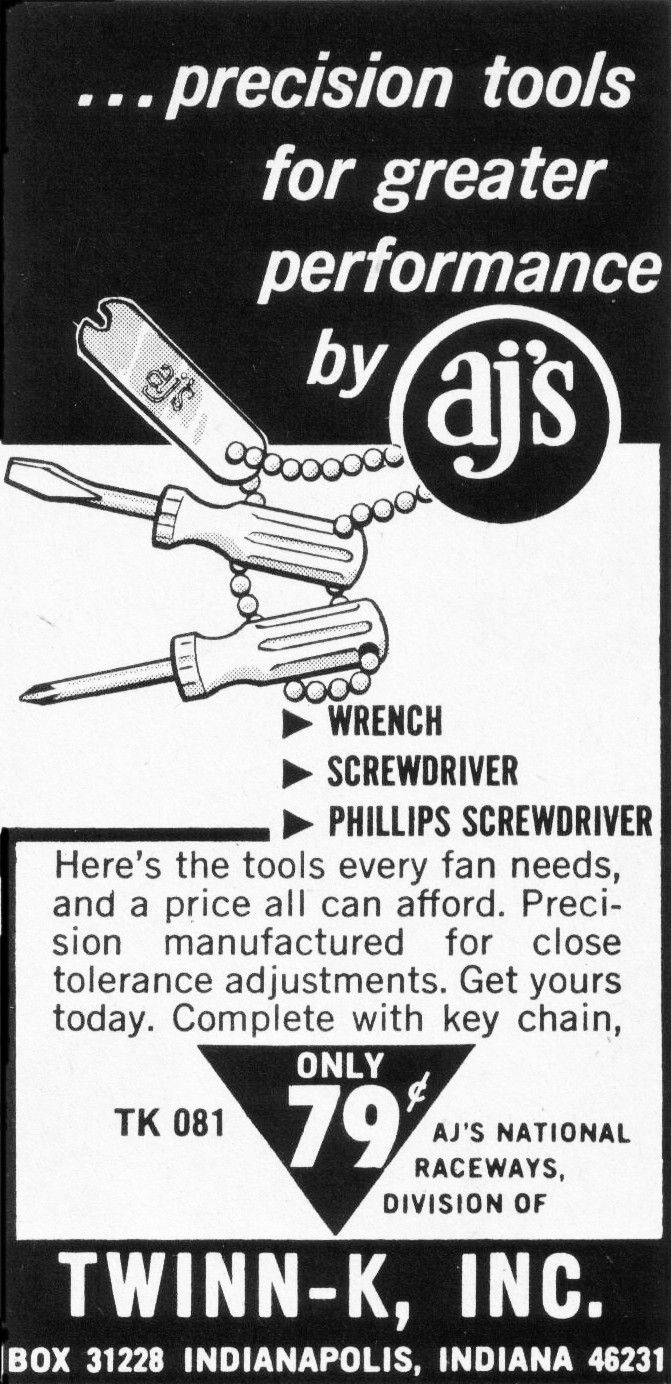 There were plenty of AJ's accessories on my slot cars back in the 1960's and 1970's.