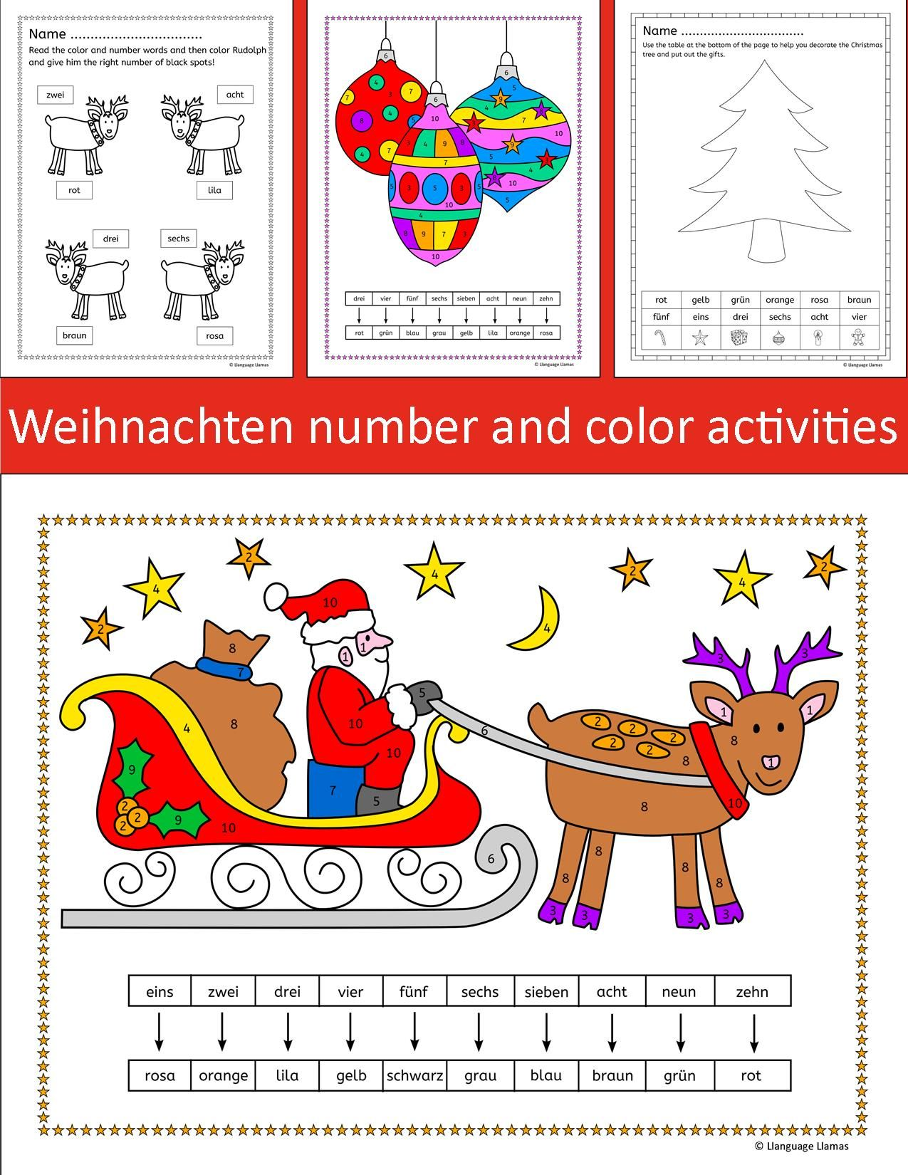 german christmas weihnachten number and color activities. Black Bedroom Furniture Sets. Home Design Ideas