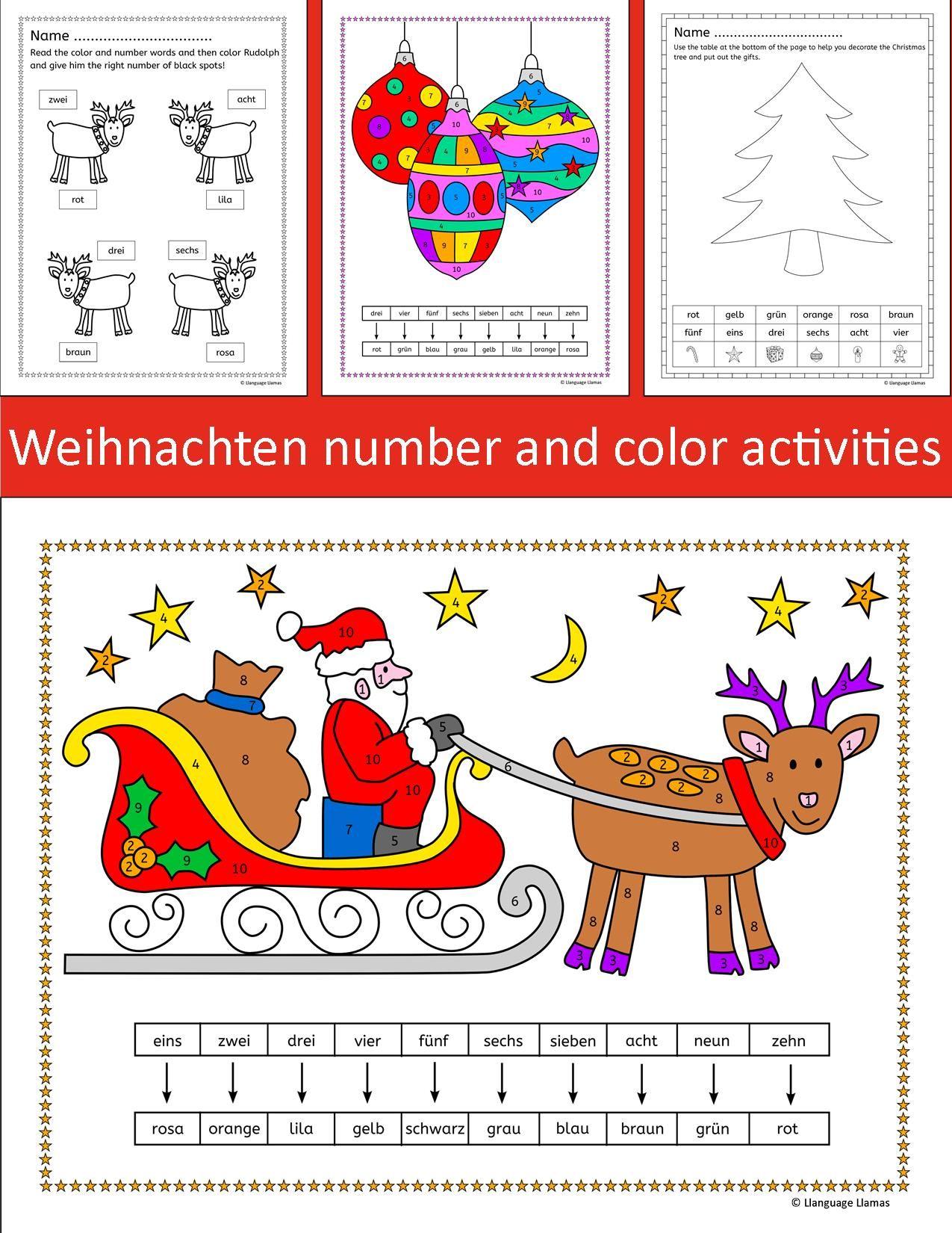 German Christmas Weihnachten Number And Color Activities