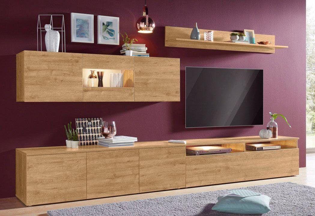 TECNOS Wohnwand beige, Push to open-Funktion, FSC®-zertifiziert - hochbetten erwachsene kleine wohnung
