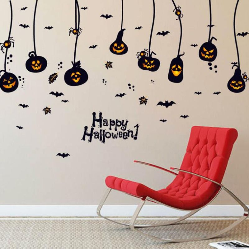 Acelit Halloween Pumpkin Wall Sticker Decoration Removable Party
