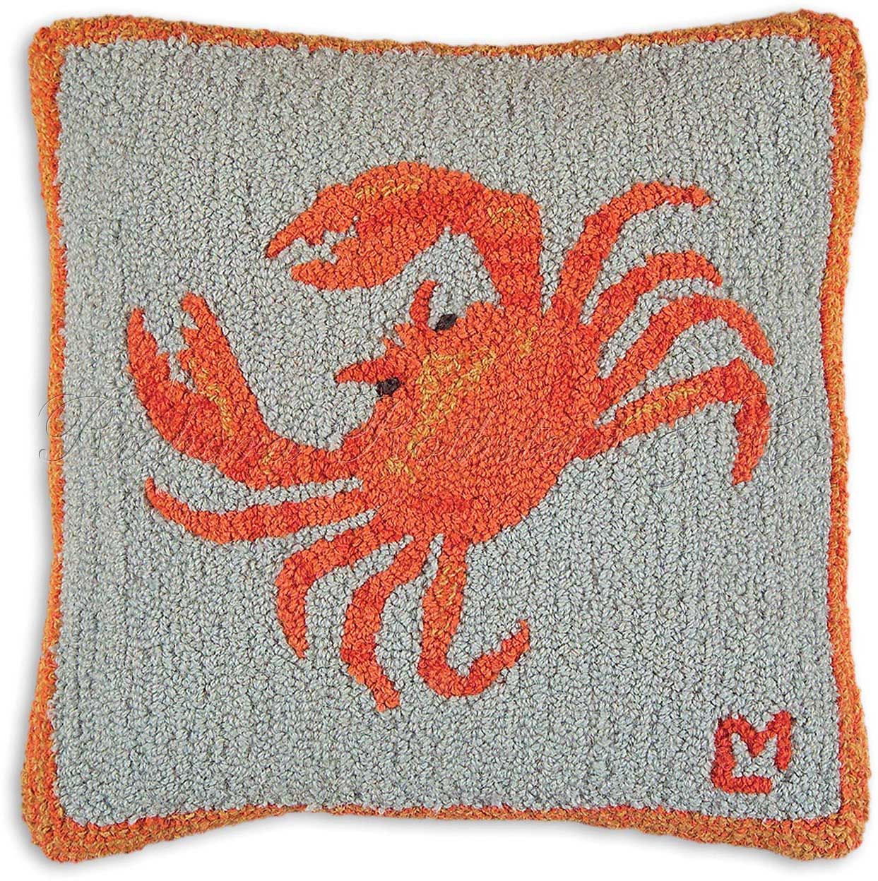 Crab Throw Pillow - Hooked Pillows at NeedlepointPillows.com ...