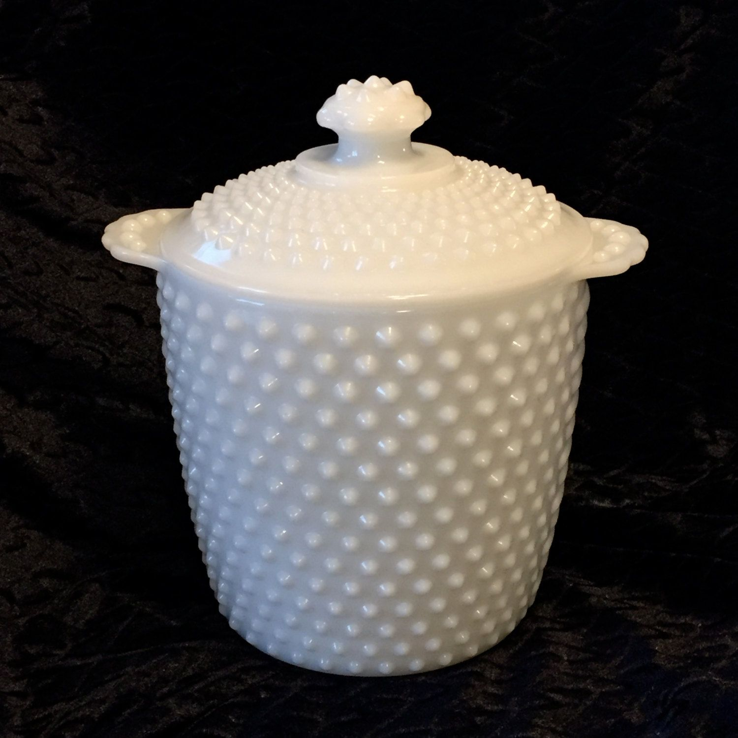 Vintage Hobnail  Milk Glass Lidded Cookie/Biscuit Jar or Ice Bucket with handles 1950s by Nanaslittlecottage on Etsy