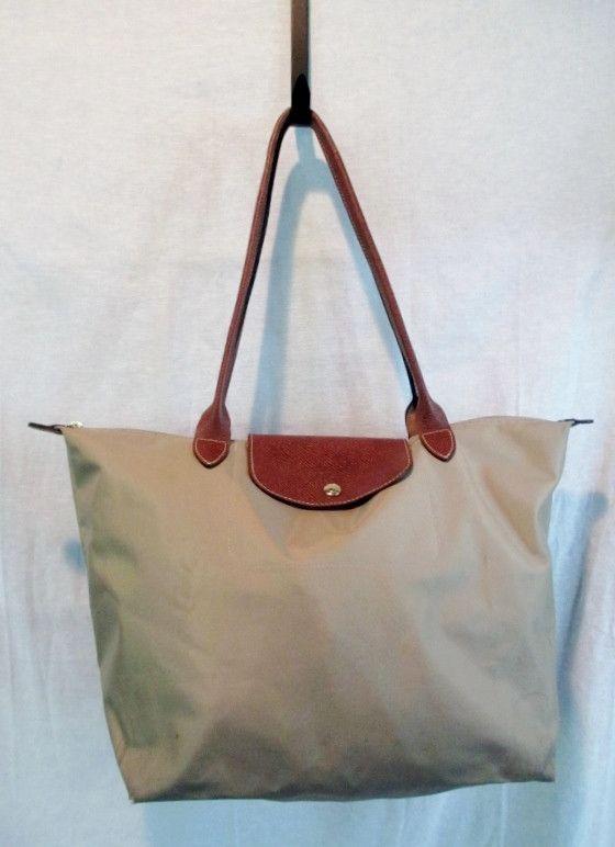LONGCHAMP PARIS Leather Nylon TOTE Shoulder BAG Organizer Shopper BEIGE