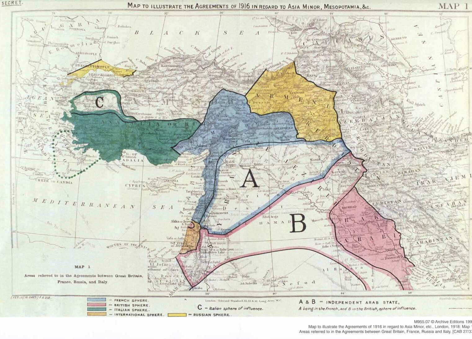 Map to illustrate the agreements of 1916 between great britain a map of map of the sykespicot agreement showing eastern turkey in asia syria and western persia and areas of control and influence agreed between the gumiabroncs Choice Image