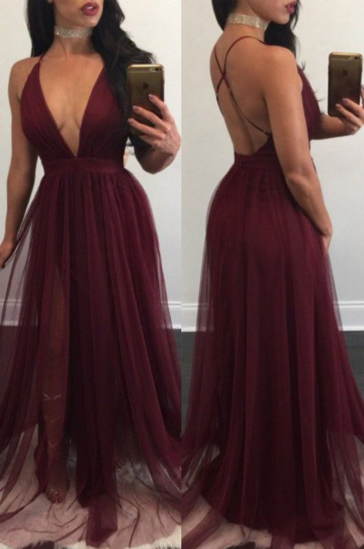 f310a04f0b2 sexy burgundy long prom dresses, burgundy long tulle prom dress for ...