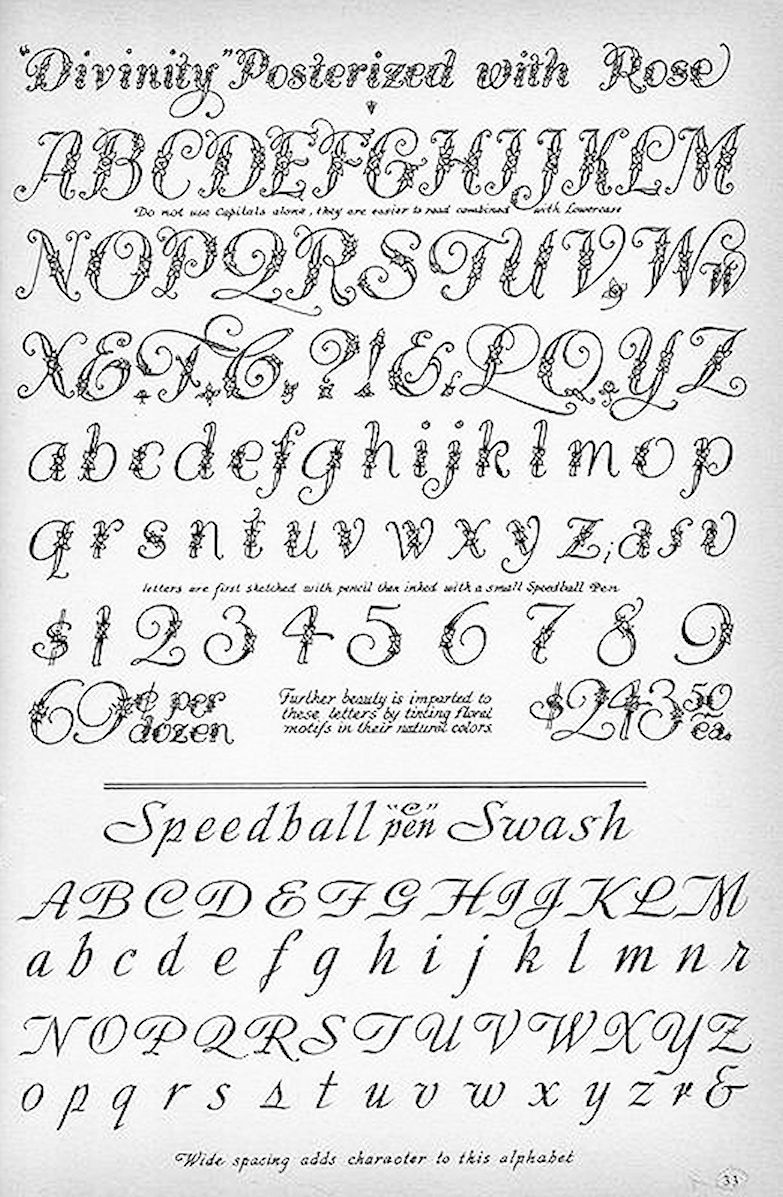 Vintage hand lettered font from the speedball textbook
