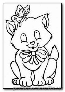 Kitten Coloring Pages Preschool And Kindergarten Cat Coloring Book Kittens Coloring Butterfly Coloring Page