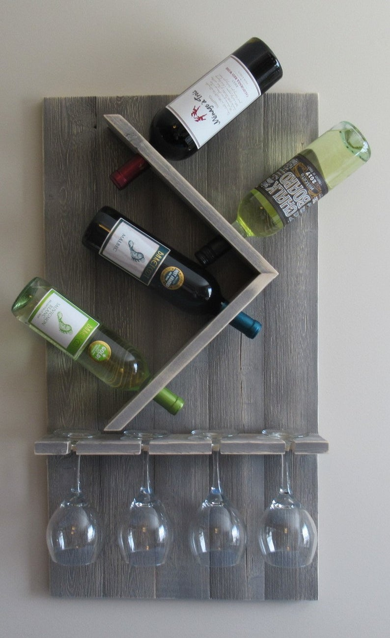 Wine Bottle And Glass Wine Holder Rustic Wall Wine Rack Wine