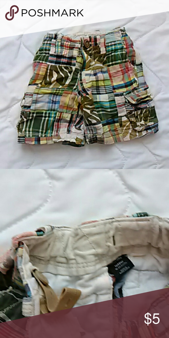 64115372b 18-24 month multicolored plaid shorts for boys BabyGap toddler boys shorts.  Size 18-24 months with adjustable waist. Multicolored plaid.
