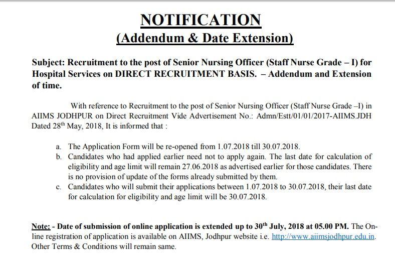 AIIMS Jodhpur Nursing Staff Recruitment 2018, AIIMS