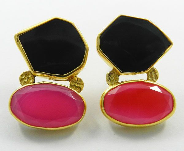 1 Pair Beautiful Gemstones Brass Gold Vermeil Earring Woman/Lady Fashion Jewelry