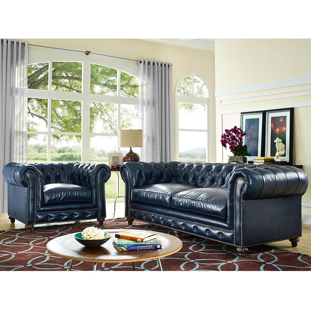 Durango Rustic Blue Bonded Leather Living Room Set W/ Reclaimed Legs  #dynamichome #livingroomset