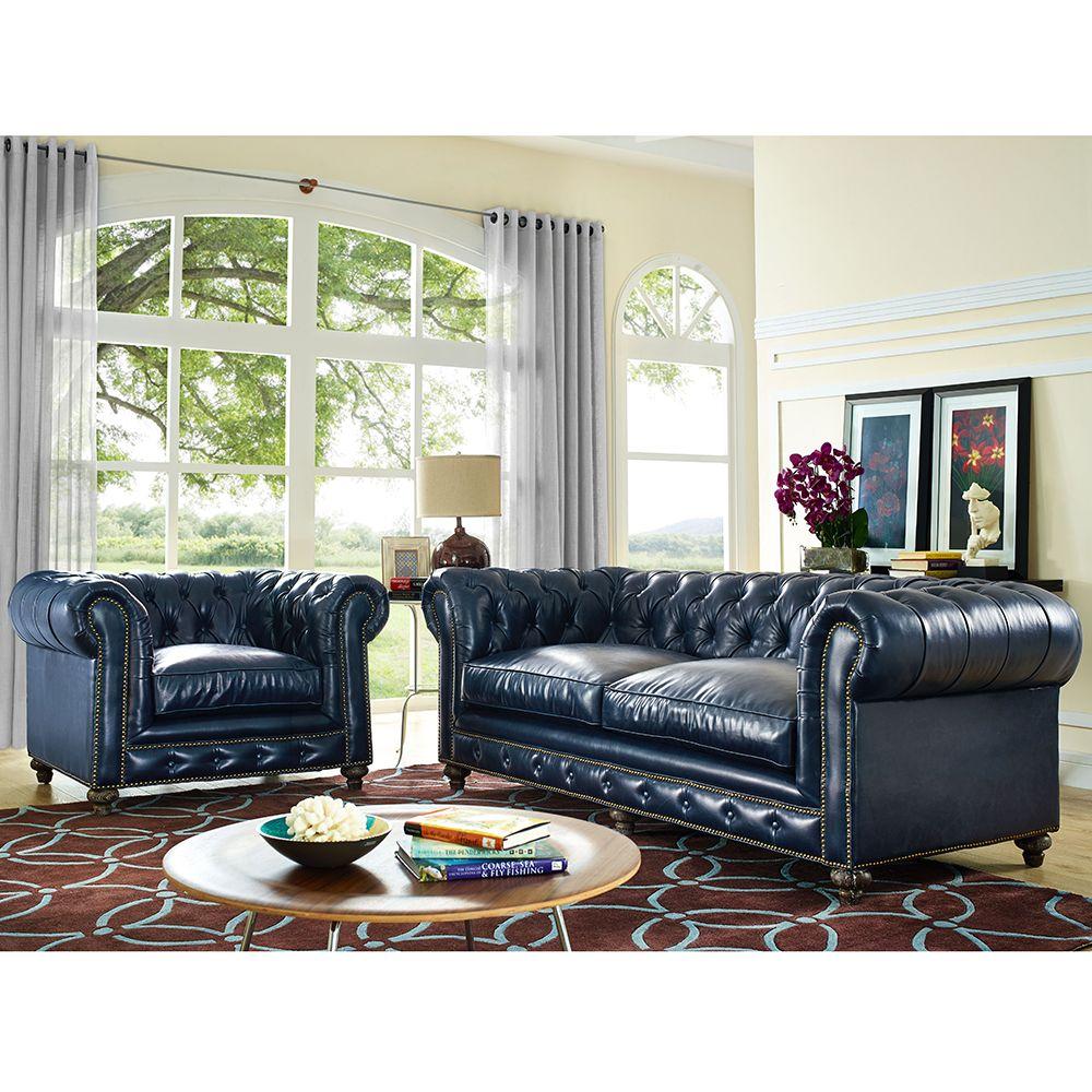 Durango Rustic Blue Bonded Leather Living Room Set W/ Reclaimed Legs  #dynamichome #livingroomset