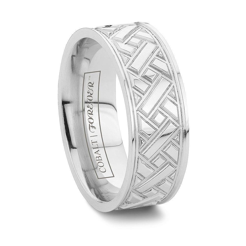 Aztec 6mm Or 8mm Cross Cut Grooved Cobalt Wedding Ring Http Www Tungstenworld Rings For Men Women