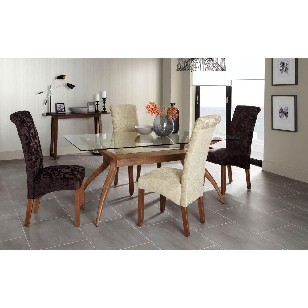 4 Seater Rectangular Dining Table Glass Top Walnut Finish Base