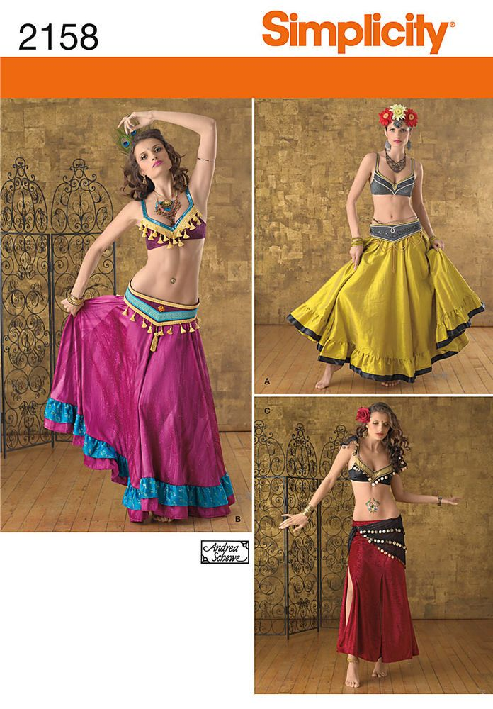 misses\' belly dancer top, skirt and belt costume sewing pattern ...