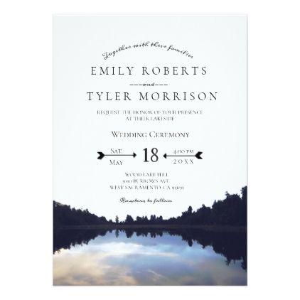 Rustic Lake Reflections Lakeside Wedding Invites Invitations Cards Custom Invitation Card Design Marriage Party