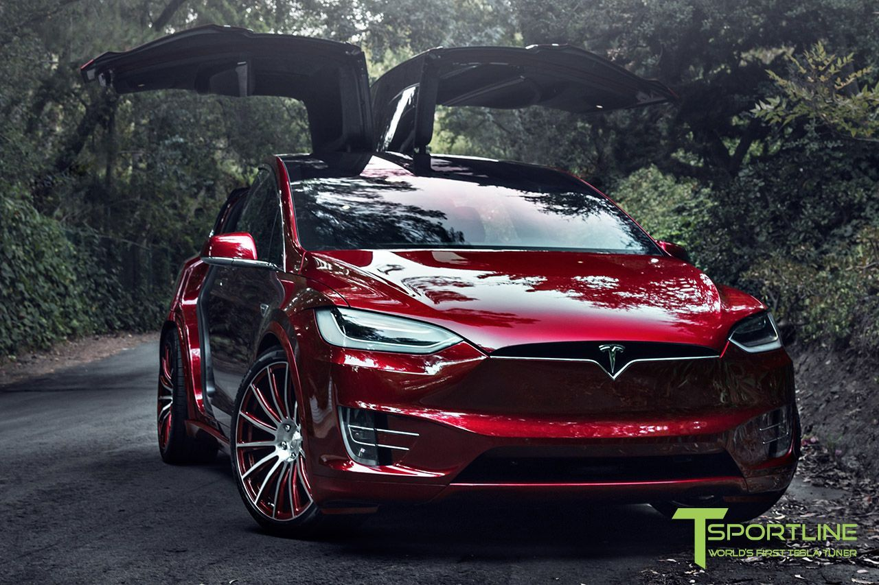 Custom Signature Red Tesla Model X With Mx114 22 Inch Forged