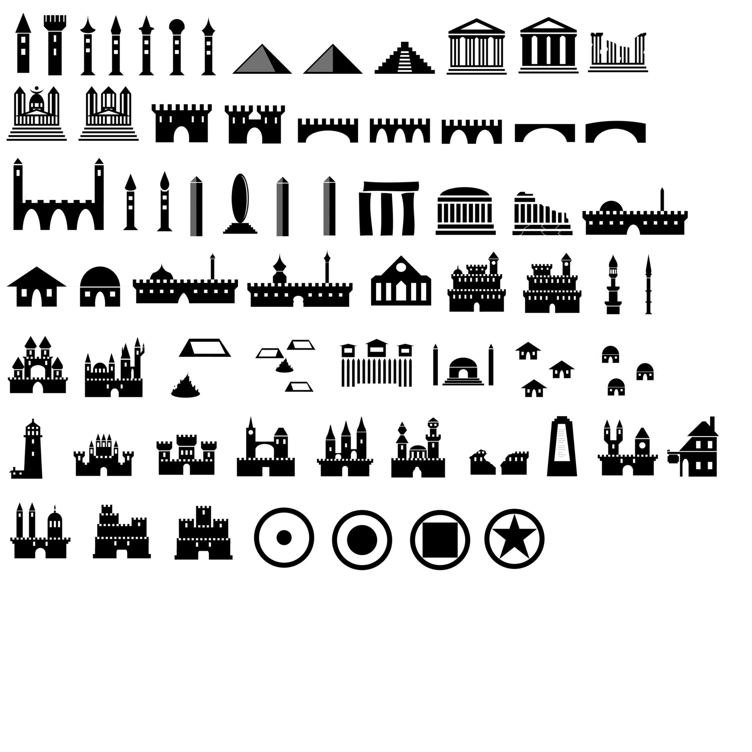 Map Symbols Photoshop Brushes Castles Etc By Jatna Icons Drawing