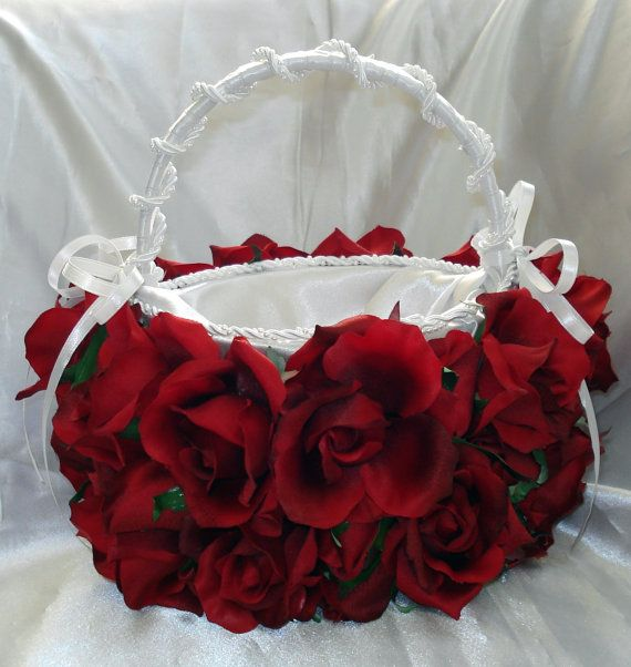 Red Rose Bridal Flower Basket By Lovelygifts On Etsy 105 00 Idea