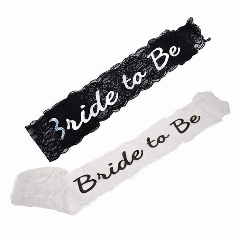 Accessories Bachelorette Shower Black White Sash Lace Bride To Be Wedding
