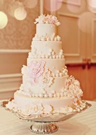 Stunning five-tiered white wedding cake with sugar flowers and pearls by Amy Cakes!  Photo by Brittany Stover Photography.  #wedding #cake #pearls #white #pink