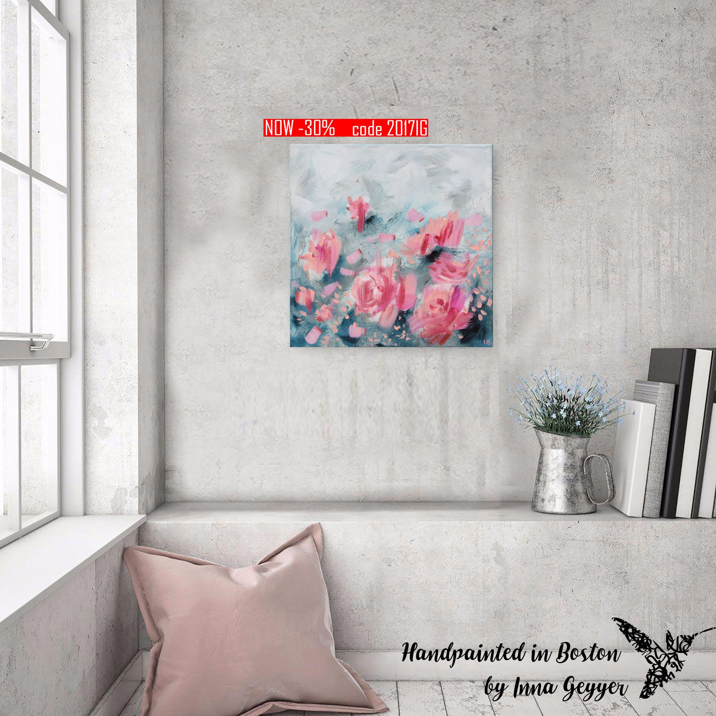 Small Abstract Painting Pink Abstract Pink Flower Art Flowers Painting